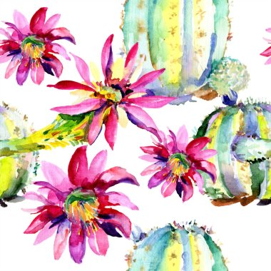 Green cacti with pink flowers. Watercolor seamless background pattern. stock vector