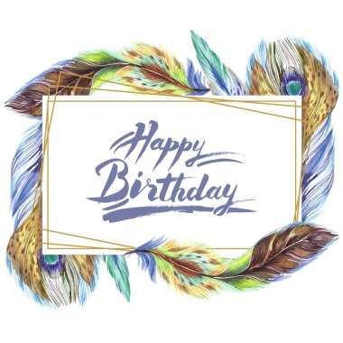Colorful watercolor feathers isolated on white illustration. Frame border ornament with happy birthday lettering. stock vector