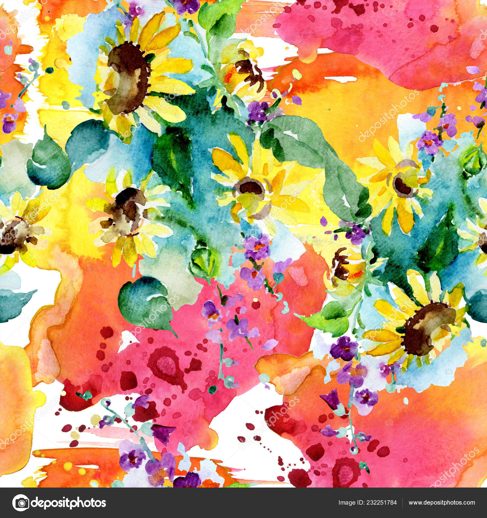 Bouquet Wildflowers Sunflowers Watercolor Background Illustration Set Watercolour Drawing Fashion Stock Photo Image By C Andreyanush 232251784