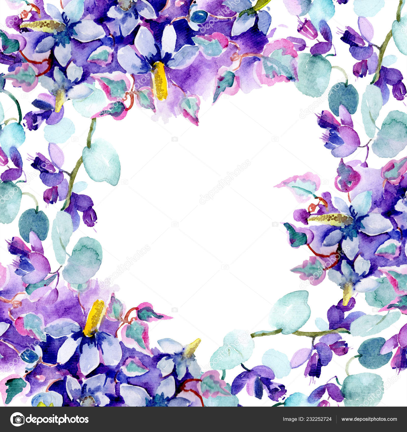 Frame Bouquet Purple Flowers Watercolor Background Illustration