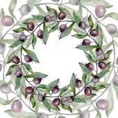 Rahmen mit schwarzen Oliven Aquarell Hintergrund. Aquarell-Zeichenset.