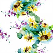 Csokor vadvirágok és a napraforgó. Akvarell háttér illusztráció készlet. Akvarell rajz divat aquarelle elszigetelt. Varratmentes háttérben minta. Anyagot a nyomtatási textúrát