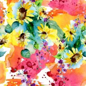 Fotografie Bouquet of wildflowers and sunflowers. Watercolor background illustration set. Watercolour drawing fashion aquarelle isolated. Seamless background pattern. Fabric wallpaper print texture.