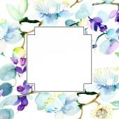Fotografie Fialová kytice. Sada akvarel pozadí obrázku. Akvarel, samostatný výkresu módní aquarelle. Frame hranice ozdoba náměstí