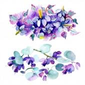 Fotografia Bouquet di fiori viola. Insieme di illustrazione dellacquerello della priorità bassa. Aquarelle di moda disegno acquerello isolato. Elemento di illustrazione del mazzo isolato