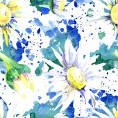 Daisy flowers background. Watercolor background illustration set. Watercolour drawing aquarelle isolated. Seamless background pattern. Fabric wallpaper print texture.