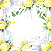 Fotografie Rám s květy sedmikrásky. Sada akvarel pozadí obrázku. Akvarel výkresu módní aquarelle izolované
