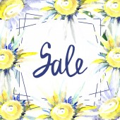 Rám s květy sedmikrásky znakem prodej. Sada akvarel pozadí obrázku. Akvarel výkresu módní aquarelle izolované