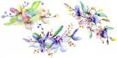 Růžové a fialové orchideje. Sada akvarel pozadí obrázku. Akvarel květ kytice ilustrace prvek.