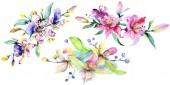 Pink and purple orchids. Watercolor background illustration set. Watercolour flower bouquet illustration element.