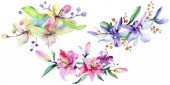 Photo Pink and purple orchids. Watercolor background illustration set. Watercolour flower bouquet illustration element.