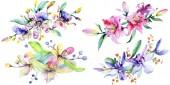 Fotografie Růžové a fialové orchideje. Sada akvarel pozadí obrázku. Akvarel květ kytice ilustrace prvek
