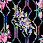Fényképek Rózsaszín és lila orchidea virágok. Akvarell rajz divat aquarelle elszigetelt. Varratmentes háttérben minta. Anyagot a nyomtatási textúrát