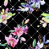 Fotografie Růžové a fialové květy orchidejí. Akvarel, samostatný výkresu módní aquarelle. Vzor bezešvé pozadí. Fabric tapety tisku textura