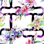 Fotografia Fiori di orchidea rosa e viola. Aquarelle di moda disegno acquerello isolato. Reticolo senza giunte della priorità bassa. Stampa tessuto per tappezzeria