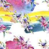 Růžové a fialové květy orchidejí. Akvarel, samostatný výkresu módní aquarelle. Vzor bezešvé pozadí. Fabric tapety tisku textura.