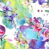 Rózsaszín és lila orchidea virágok. Akvarell rajz divat aquarelle elszigetelt. Varratmentes háttérben minta. Anyagot a nyomtatási textúrát.