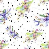 Fiori di orchidea rosa e viola. Aquarelle di moda disegno acquerello isolato. Reticolo senza giunte della priorità bassa. Stampa tessuto per tappezzeria.