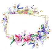 Fotografie Rám s růžové a fialové květy orchidejí. Akvarel, samostatný výkresu módní aquarelle. Ornament hranice