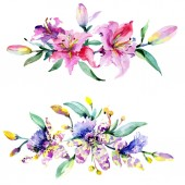 Fotografie Pink and purple orchids. Watercolor background illustration set. Watercolour flower bouquet illustration element.