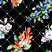 Pozadí s barevné jarní květiny. Sada akvarel pozadí obrázku. Akvarel, samostatný výkresu módní aquarelle. Izolované kytice textura