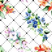 Fotografie Pozadí s barevné jarní květiny. Sada akvarel pozadí obrázku. Akvarel, samostatný výkresu módní aquarelle. Izolované kytice textura