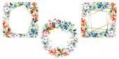 Cornici di fiori variopinti della sorgente. Insieme di illustrazione dellacquerello della priorità bassa. Aquarelle di moda disegno acquerello isolato. Bordi ornamentali