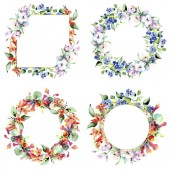 Fotografie Bilder von bunten Frühlingsblumen. Aquarell Hintergrund Illustration-Set. Aquarell Zeichnung Mode Aquarell isoliert. Dekorative Grenzen