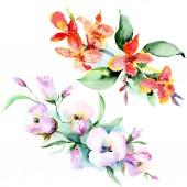Fotografie Barevné jarní kytice. Sada akvarel pozadí obrázku. Akvarel, samostatný výkresu módní aquarelle. Prvek ilustrace izolované kytice