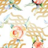 Narancs rózsaszín virágok. Akvarell rajz divat aquarelle elszigetelt. Varratmentes háttérben minta. Anyagot a nyomtatási textúrát.