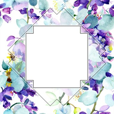 Frame with Bouquet of purple flowers. Watercolor background illustration set. Watercolour drawing fashion aquarelle isolated.