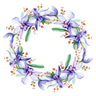 Frame with pink and purple orchid flowers. Watercolour drawing fashion aquarelle isolated. Ornament border stock vector