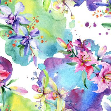 Pink and purple orchid flowers. Watercolour drawing fashion aquarelle isolated. Seamless background pattern. Fabric wallpaper print texture. stock vector