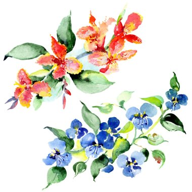 Bouquet of colorful spring flowers. Watercolor background illustration set. Watercolour drawing fashion aquarelle isolated. Isolated bouquet illustration element. stock vector