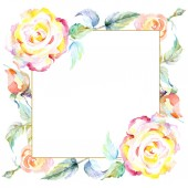 Frame with orange rose flowers. Watercolor background illustration set. Watercolour drawing fashion aquarelle isolated. Ornamental border
