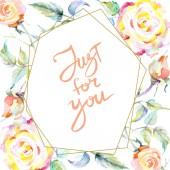 Váz, narancs Rózsa virágok. Akvarell háttér illusztráció készlet. Akvarell rajz divat aquarelle elszigetelt. Díszítő határ csak az Ön jele