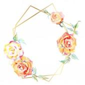 Fotografie Rahmen mit orangen Rosenblüten. Aquarell Hintergrundillustration Set. Aquarellzeichnung Modeaquarell isoliert. Zierrand