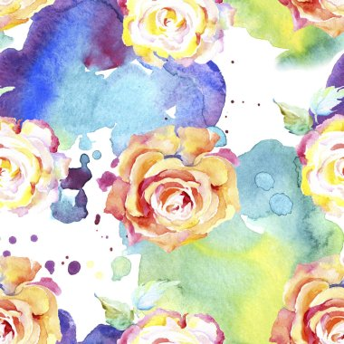 Orange rose flowers. Watercolour drawing fashion aquarelle isolated. Seamless background pattern. Fabric wallpaper print texture. stock vector