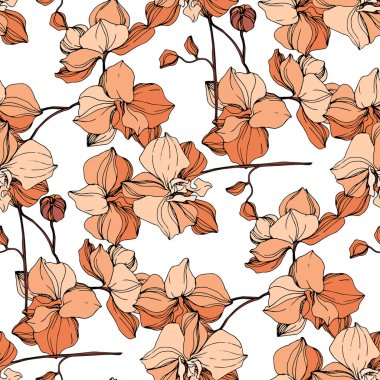 Vector orange orchids. Wildflowers isolated on white. Engraved ink art. Seamless background pattern. Wallpaper print texture. stock vector