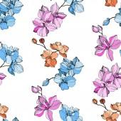 Vektor rózsaszín, kék és narancs orchideák. Vadvirágok elszigetelt fehér. Vésett tinta art. Varratmentes háttérben minta. Nyomtatási textúra tapéta