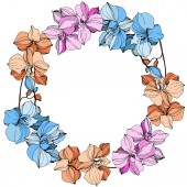 Vector pink, orange and blue orchids. Wildflowers isolated on white. Engraved ink art. Floral frame border