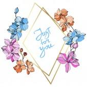 Fotografie Vektor-rosa, orange und blaue Orchideen. Wildblumen isoliert auf weiss. Gravierte Tinte Kunst. Floral Rahmenkontur mit just for you Schriftzug
