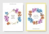 Vektor orchideje. Ryté inkoust umění. Svatební pozadí karty s dekorativní květy. Pozvánka karty grafická sada nápis.