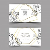Vector orchids. Engraved ink art. Wedding background cards with decorative flowers. Invitation cards graphic set banner.