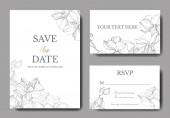 Vector orchids. Engraved ink art. Wedding background cards with decorative flowers. Thank you, rsvp, invitation cards graphic set banner.