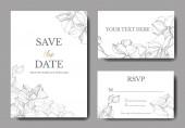 Vektor orchideák. Vésett tinta art. Esküvői háttér kártyák Dekoratív virág. Köszönöm, rsvp, meghívó kártya grafikus banner beállítása.