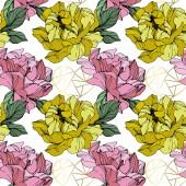 Vektorové růžová a žlutá pivoňky. Květy, izolované na bílém. Ryté inkoust umění. Vzor bezešvé pozadí. Tiskové textura tapety.