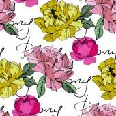 Vektor rosa und gelbe Pfingstrosen. Wildblumen isoliert auf weiß. Tuschebilder. nahtlose Hintergrundmuster. Tapetendruck Textur mit Pfingstrose Schriftzug