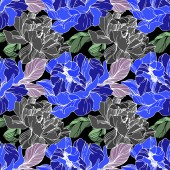 Fotografie Vector blue, green and grey peonies. Wildflowers on black background. Engraved ink art. Seamless background pattern. Wallpaper print texture.