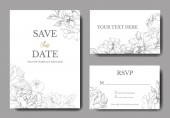 Vector peonies. Engraved ink art. Wedding background cards with decorative flowers. Thank you, rsvp, invitation cards graphic set banner.